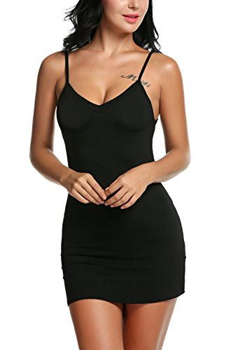 Avidlove mujeres Modal con cuello en V vestido Slips sin mangas recto mini ropa negro negro S
