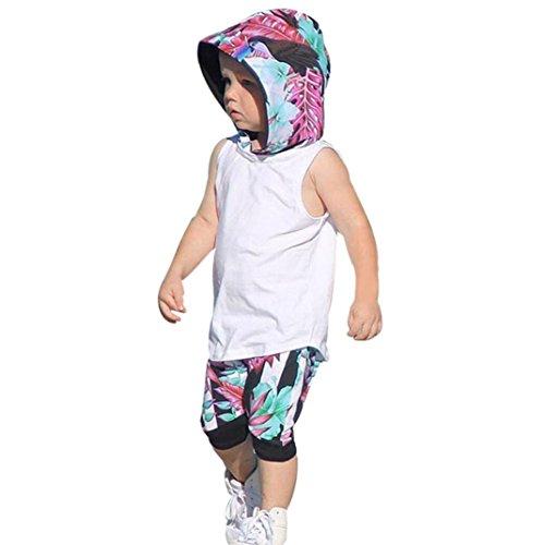 Sommer Babykleidung, Bekleidung Longra Kinder Baby jungen Ohne Arm Kapuzen Weste Tops T-shirt + Shorts Hose 2pcs Kleinkind Outfits Kleiderset(0-3Jahre) (90CM 18Monate, White) (Mini-gestreifte Shorts)