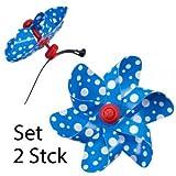 Fahrradwindmühle - Moulin VELO 12cm - 2er Set - Windrad Ø12cm - Windspiel für alle Fahrräder, Roller, Dreiräder, Laufräder, Kinderwagen und Buggys (blau)