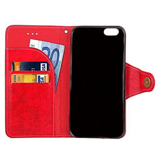 Apple iPhone 6 6S Hülle, SATURCASE Retro Business Stil PU Lederhülle Ledertasche Magnetverschluss Schnalle Flip Cover Brieftasche Case Handy Tasche Schutzhülle Handyhülle Hülle mit Standfunktion Karte Rot