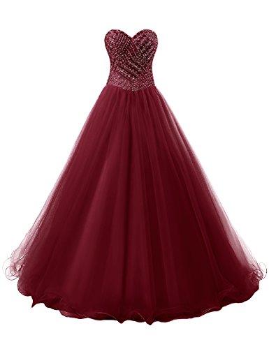 Dresstells Herzform Abendkleider Tüll Cocktail-Kleider Promi-Kleider Burgundy