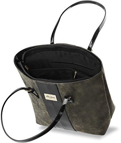 Borsa Shop perbag trapuntato borsa per la spesa City–�? da donna, grau (nero) - 766 nero