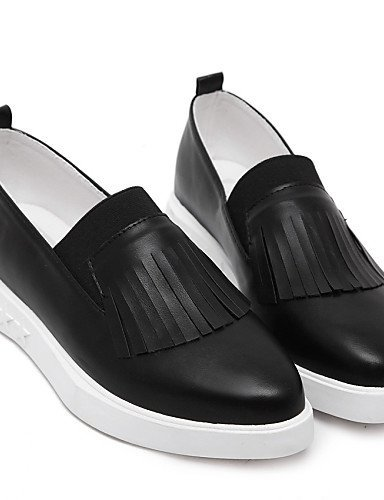 ShangYi gyht Scarpe Donna-Ballerine-Casual-A punta-Piatto-Di pelle-Nero / Bianco White
