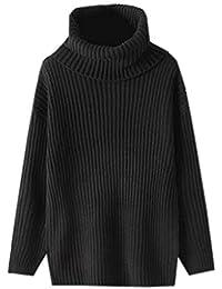 Lukis Damen Langarm Rollkragen Pullover Lässig Strickpullover Sweater