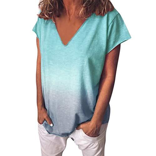 T-Shirt Damen Mode Farbverlauf Shirt Sommer Lose Tees Kurzarm Blusen V-Ausschnitt Oberteile Große Größe Tie-dye Print Asymmetrisch Oversize Oberteile Casual Tops Hemd Kurzarmshirt Tunika (Shirt-ärmel-strumpfband)