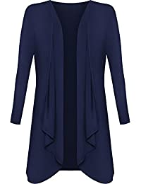 Plus Size Womens Plain Long Sleeve Open Top Ladies Waterfall Cardigan - 16-26