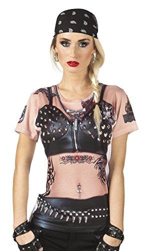 erdbeerloft - Damen Biker Lady Shirt, Kostüm, Karneval, Fasching, Mehrfarbig, Größe (Für Kostüm Rocker Frauen)