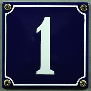 emaille hausnummernschild nr 1 blau wei 12x12 cm sofort lieferbar hausnummer schild. Black Bedroom Furniture Sets. Home Design Ideas
