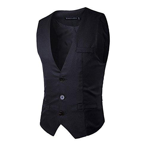 HerZii Chalecos Hombre de Vestir de Boda Blazers Traje Negocio (L, Negro)