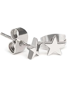 Stern Star Ohrstecker Ohrringe Silber Edelstahl 5mm (2 Stück / 1 Paar) für Damen, Herren und Jugendliche.