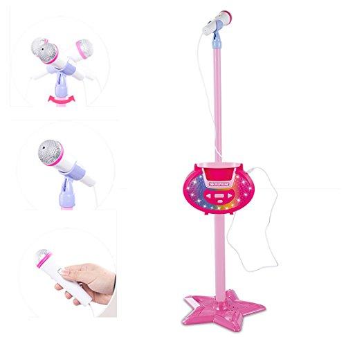 YAKOK Mikrofon Kinder, Einstellbar Karaoke Kinder Mikrofon mit Ständer Standmikrofon Kann Stecken MP3 und Mobiltelefon für Mädchen 3-7 Jahre (Rosa)