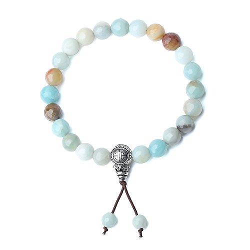 Coai bracciale da donna e da uomo con perle in amazzonite e amuleto della longevita' in argento sterling 925, bracciale elastico in pietre naturali