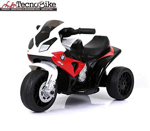 Tecnobike Shop Moto Motocicletta Elettrica per Bambini BMW S 1000 RR Batteria 6V Ricaricabile Triciclo 3 Ruote Fari Funzionanti con Luci e Suoni