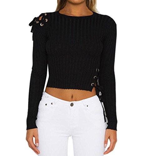 Sunnywill Damen Blusen Pullover Streetwear Bandage Langarm Mode stricken T-Shirt Bluse Tops (Black, M)