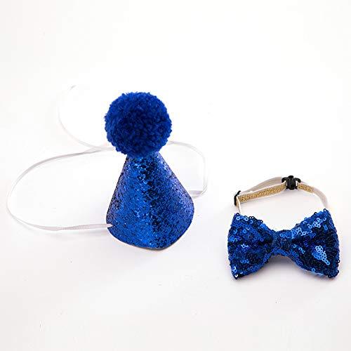 WORDERFUL Weihnachtsset für Hunde, Weihnachten, Geburtstag, dekorative Mütze mit Schleife, Halsband aus PU-Wolle, verstellbares Kostüm, Party, Hochzeit, für Hunde und Katzen, Free, blau