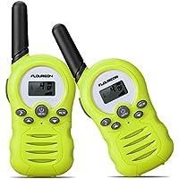 FLOUREON Walkie Talkies Toy Radio de 2 vías para Niños con 8 Canales de Larga Distancia 3.3km, Interfono de Botones para el Hogar/Supermercado (1 Par, Verde)