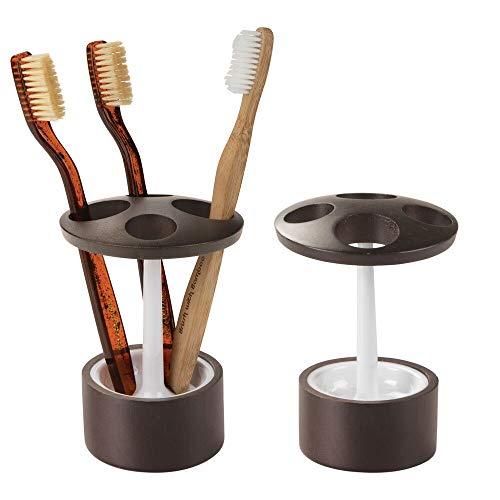 mDesign Deko Bambus Holz Zahnbürstenhalter Organizer Stehen für Badezimmer Vanity, Waschbecken, Medizin Schränke-Verwendung für Zahnbürsten, Make-up-Pinsel, 2Stück, weiß/Espresso - Espresso-akzent