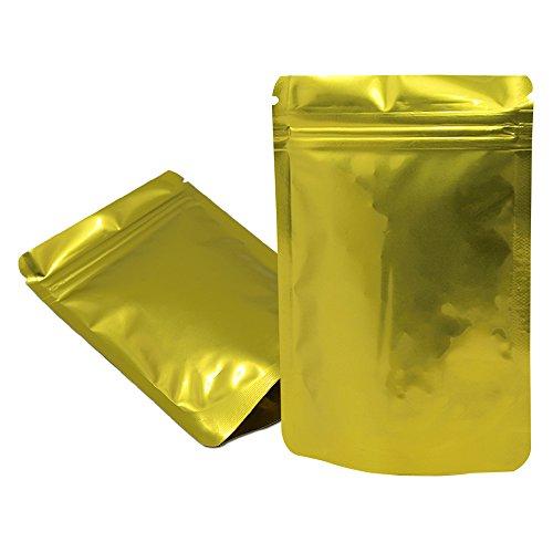 8.5 x 13 cm (3.3 x 5.1 inch) Aufstehen Farbige Alufolie Ziplock Beutel Mit Reißen Doypack Heißsigel Zipper Top Verpackung Taschen Lebensmittel Kaffee Bohnen Lagerung Mylar Foil Bags 100 Stück (Gold)