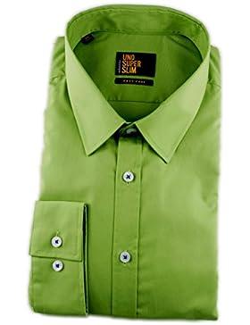 Seidensticker Herren Langarm Hemd UNO Super Slim Stretch Kent grün 573246.78