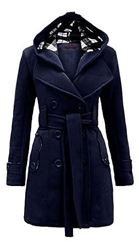 Noroze Damen stylischer Herbst Winter Fleece Mantel, Jacke mit Kapuze (38 (UK 10), Navy)