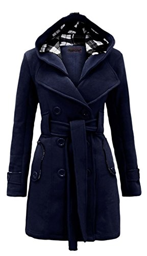 Noroze Damen stylischer Herbst Winter Fleece Mantel, Jacke mit Kapuze Navy