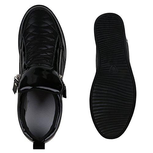 Damen Sneakers Keilabsatz Sneaker-Wedges Lack Metallic Schuhe Schwarz