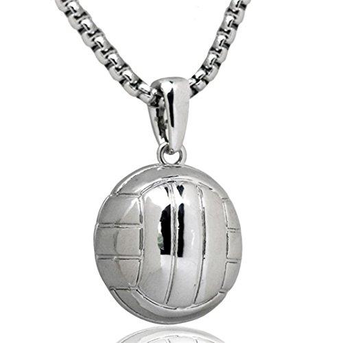Mädchen Volleyball Fußball Anhänger Halskette Edelstahl Kette Charm Choker Statement Schmuck modisch silber (Volleyball-armbänder)