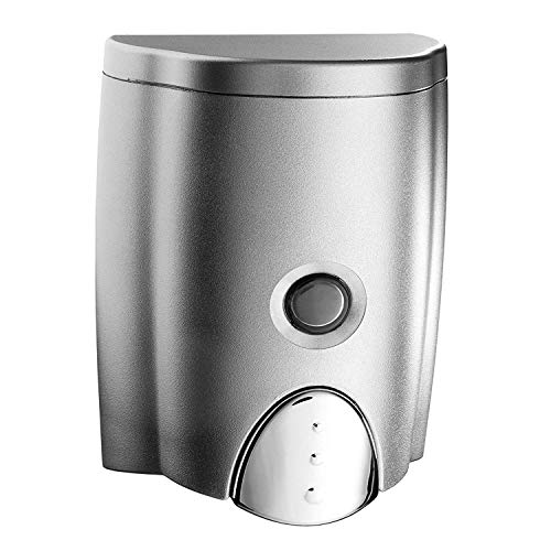 Inno Dispenser Seifenspender 500 ml, ohne Bohren inklusive tesa Powerstrips, Silber