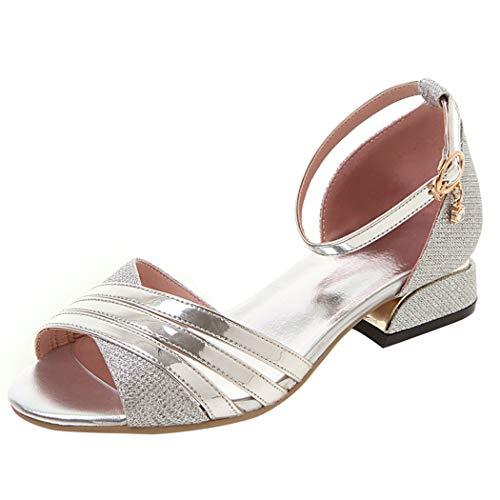 Coolulu Damen Open Toe Glitzer Flach Riemchen Pumps mit Knöchelriemen Sandalen 2cm Absatz Schuhe(Silber,43) -