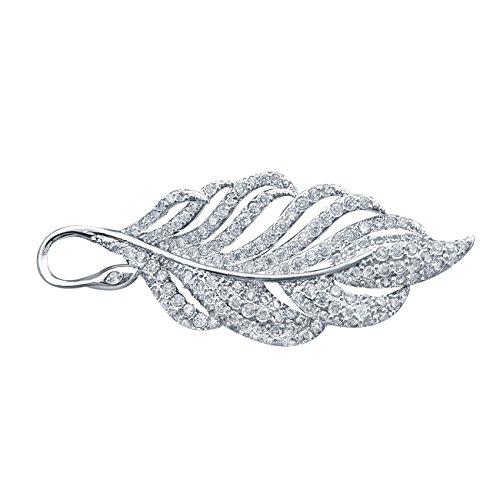 QUKE Damen Silber-Ton Blatt Shape Zirkonia Kristall Brosche Anstecknadel Braut Hochzeit Brauthochzeits