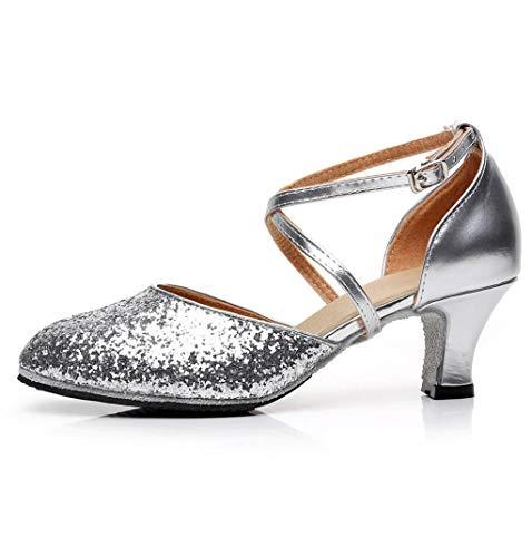 Scarpa da Donna,Scarpe da Ballo quadrate,Waltz Latin Dance Shoes,Scarpe da Ballo quadrate morbide a Tacco Medio