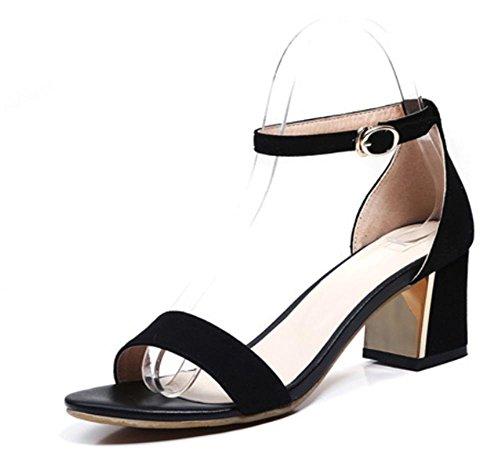 Matte weiblichen Sommer Sandalen mit dick mit runden Kopf Frauen Sandalen mit weichen Sohlen Schuhe Black