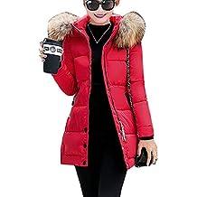 Guiran Mujer Chaquetas con Capucha Invierno Espesar Cálido Abrigos Plumas Largo Parkas Slim Fit Rojo L