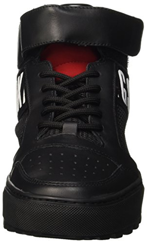 BIKKEMBERGS Herren Track-Er 765 Mid Shoe M Leather/Fabric High-Top Nero (Black/Red)