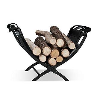 Relaxdays 10022301 Cesta para Leña con Asas, Negro, 32×43.5×32 cm