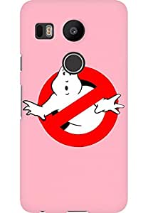 AMEZ designer printed 3d premium high quality back case cover printed hard case cover for LG Google Nexus 5X (Ghost Buster In Cherry Blossom Pink)