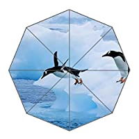 Personalised Fashion Printed Custom Umbrella- Folding Sun Umbrella- Portable Automatic Travel Umbrella, Penguin