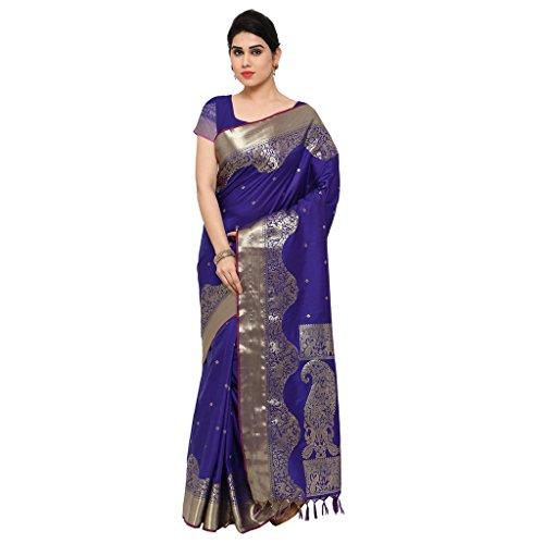 Varkala Silk Sarees Women's Art Silk Paithani Saree With Blouse Piece(JB1001RBV_Blue_Free Size)