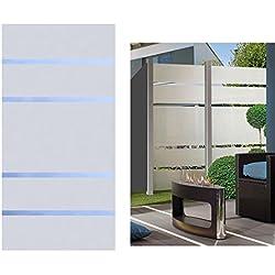 Sichtschutz Glas Element ALPHA 180x90cm, satiniert mit 4 durchsichtigen Streifen - Sichtschutzzäune Sichtschutzwand Gartensichtschutz Balkonsichtschutz Winschutz Sichtschutzwand für Garten und Terasse Blickschutz für Balkon Sichtschutzwände Sichtschutzwände, WPC Sichtschutz