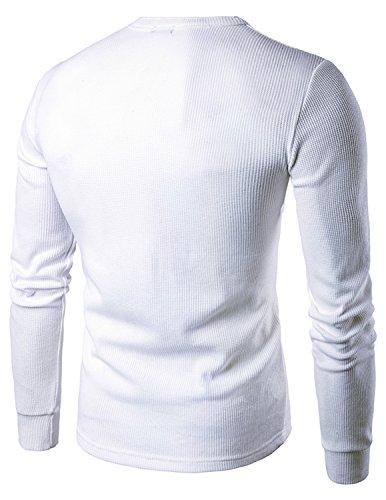 YCHENG Herren T-Shirt Longsleeve Grandad Kragen mit Kontrast Knopfleisten Weiß