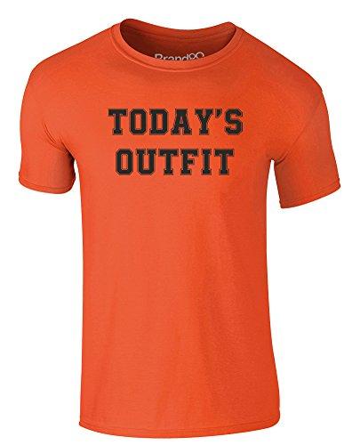Brand88 - Today's Outfit, Erwachsene Gedrucktes T-Shirt Orange/Schwarz