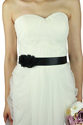 Fajines diferente color ribbon con dos hermoso flores (Negro)