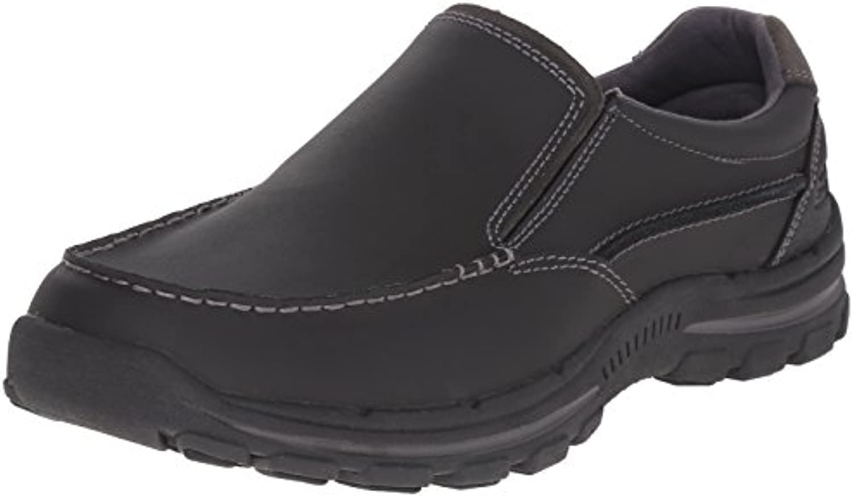 Skechers USA Men's Braver Rayland Slip-On Loafer, Black Leather, 7.5 2E US