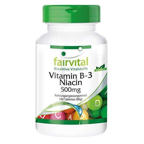 Vitamin B-3 Niacin 500mg - 100 vegane Tabletten - hochdosiert - Reinsubstanz Test