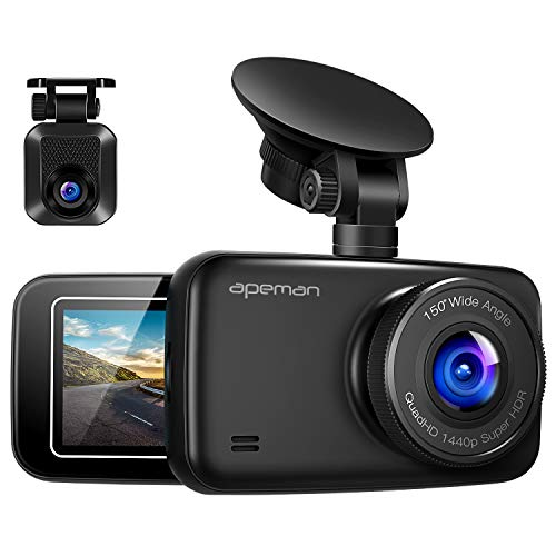 apeman Dual Lens Autokamera Dashcam WQHD 1440P 2K Dashboard Video Recorder 1080P FHD R¨¹ckkamera mit IR Sensor, 6G Lens, G-Sensor, WDR, Super Nachtsicht, Schleifenaufnahme, Parkmonitoring
