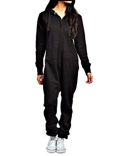 heiße Verkäufe Herren Damen Unisex Overall Kapuzenpullis jumpsuit alle Größen (schwarz, L)