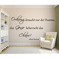 Das Genie beherrscht das Chaos Spruch Albert Einstein 120cm x 60cm als Wandtattoo für Ihr Wohnzimmer in 21 Farbe (siehe Fabtabelle Bilder)