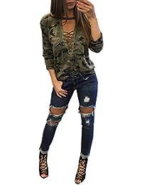 169601235 MEIbax Moda Mujeres Camisa de Manga Larga Blusa Casual Delgada Camuflaje  Tops de impresión