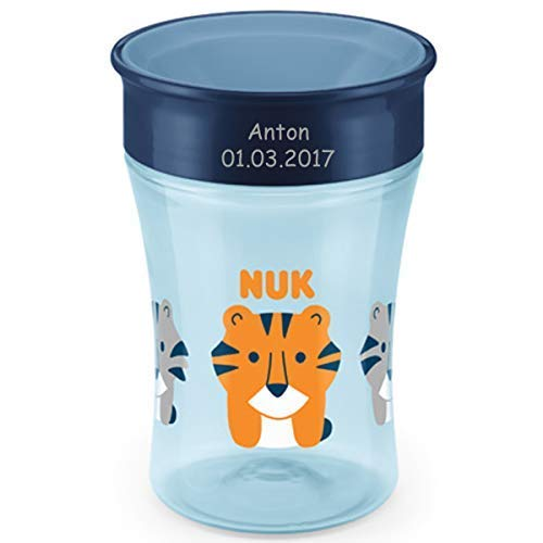 NUK Magic Cup, Trinklernbecher mit persönlicher Gravur, 230ml, ab 8 Monaten, Tiger (blau) -