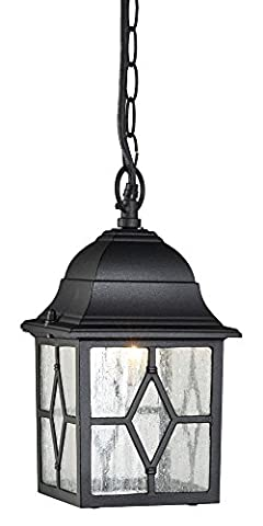 Outdoor Black Ceiling Pendant Lantern with Cathedral Lead Glass by